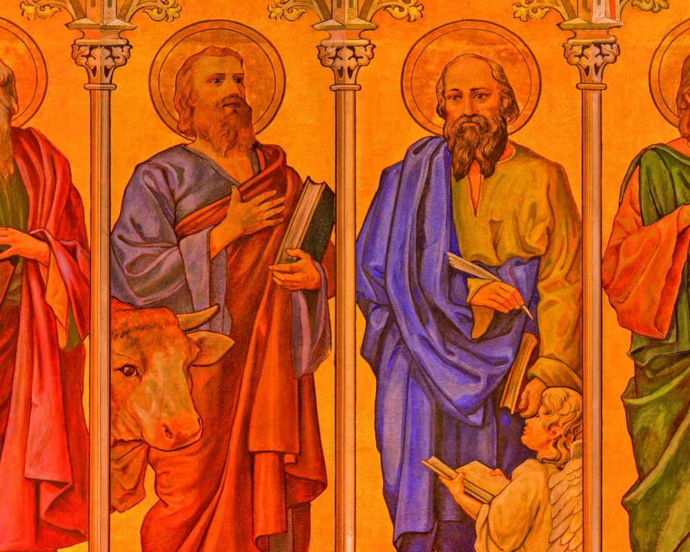 EATE3N Trnava - The neo-gothic fresco of four  evangelists (Mark,Luke,Matthew,John) in Saint Nicholas church.